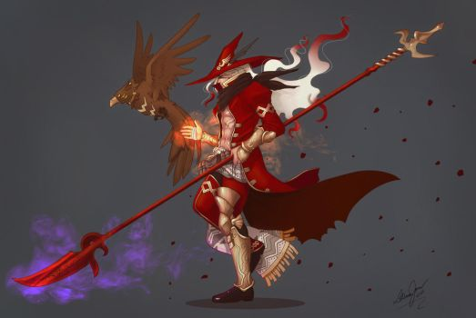 Puzzles and Dragons - Red Odin by Yon-kitty