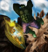 hulk vs goku by redblacktac