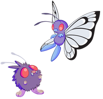 Venonat and Butterfree by Nollaig