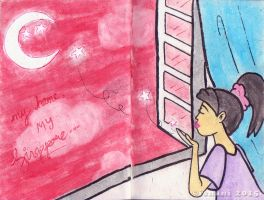 Art Journal - Crescent-starred moon in the red sky by isnani