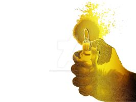 Golden Hands with lighter 2 by laxmikantchaware