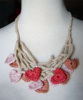 Crochet silk hearts necklace by meekssandygirl