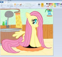 Fluttershy  shower in Paint by sallycars
