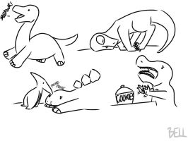 Dinosaur sketches by psychedelic-weirdo