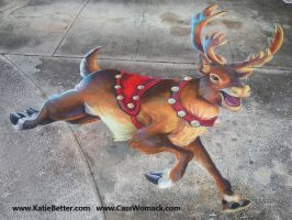 3D Chalked Christmas Reindeer 3 by charfade