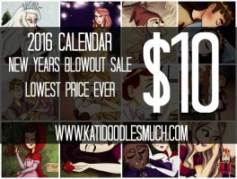 2016 Calendar LOWEST PRICE - NEW YEARS BLOWOUT by katidoodlesmuch