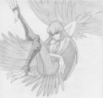 Harpy Lady -Black and White- by Klaymoor