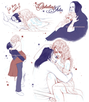 OpheliaxJohn - Lovers Sketches 2 by RedPassion