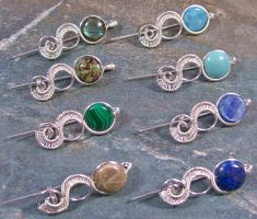 Customizable Gemstone Coin and Woven Tail Brooch by HeatherJordanJewelry