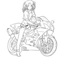 Bad Ass Biker chick-lineart by Miraged-wings