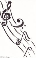 Tribal Music Notes by Forest-Quick-Paw