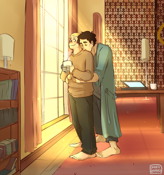 Commiss: Sherlock and John cuddles by blargberries