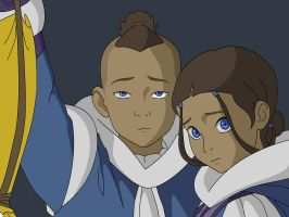 Sokka and Katara by SakuraPetalzz