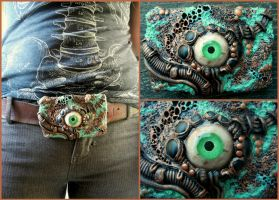 copper biomech belt buckle by dogzillalives