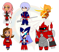 Assorted Chibis - AU Anime Robot Team by Dragon-FangX
