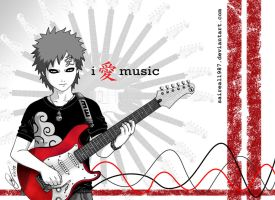 Gaara Loves Music by saireal1987