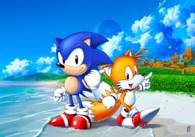 Sonic and Tails in coast of Emerald Hill by Nerkin