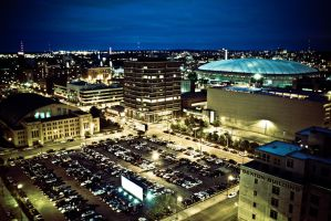 The Metrodome At Night by SREphoto