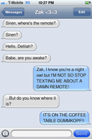 Zak texed me last night and this is what happened. by AngllannaKurayami