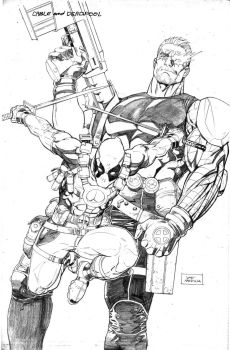CABLE and DEADPOOL pencils by thepunisherone
