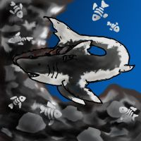 chainsaw shark and ghost fish by Yoblicnep