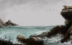 sea landscape speed painting by cury