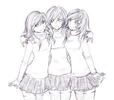 Request:identical triplets (sisters) by thefreedombird