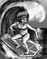 Surfing Vampire grayscale by rawjawbone