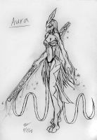 Sketch: Anthro suicune Aura by Snowfyre
