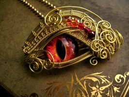 Flame Fire Dragon Eye Brooch Pin Pendant by LadyPirotessa