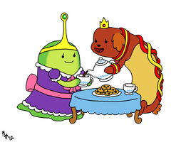 Tea Time with Slime Princess and Hot Dog Princess by ToonSkribblez