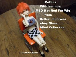 Melfina Red Fur Wig 1 by The-Modern-Maiden