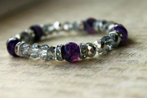Purple and Silver Crystal Bracelet by Clerdy