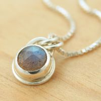 Little Labradorite Dot Pendant by metalsmitten