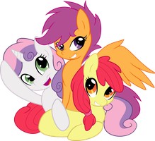 Cutie Mark Crusaders Vector Ponies! by Serenawyr