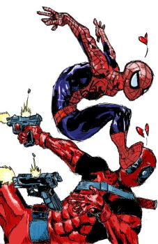 Spidey vs. Deadpool by ToneDawg