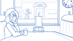 Ember Eats at a Diner WIP by Flame-Eliwood