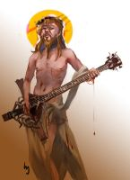 Jesus and his bass by serushins