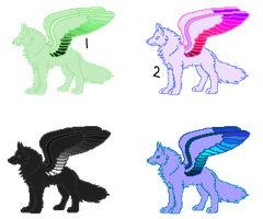 Winged wolf adopties 3 -2 LEFT by SophiaRees