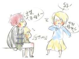 Young France,chibi Eng and young scott by yao-chan