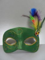 Green colorful masquerade mask by maskedzone
