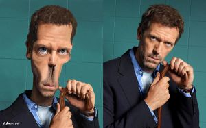 Dr House caricature comparison by SamBrownArt