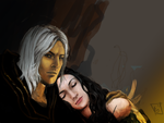 raistlin and crysania WIP by gwengivar