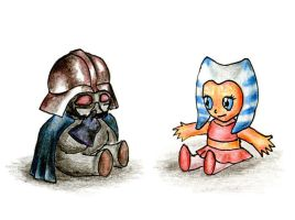Chibi SW: Vader and Ahsoka by Daniela-Chris