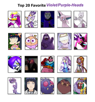 Top 20 Favorite Violet Purple Heads Meme by Soraply11