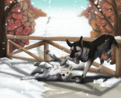 Commission . Shepherd dogs in the snow by ShadowCatsKey