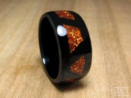 Ebony with Patterned Orange Glitter Glass Inlay by SycoClown