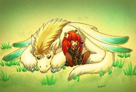 sprite and flammie nap by wulfmune