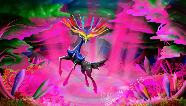 Xerneas and the Geomancy Power by FaustDarkSoul