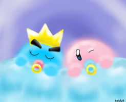 Baby Kirby and Prince Fluff by Zelda5